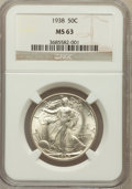 Walking Liberty Half Dollars: , 1938 50C MS63 NGC. NGC Census: (166/1680). PCGS Population(350/2749). Mintage: 4,118,152. Numismedia Wsl. Price for proble...