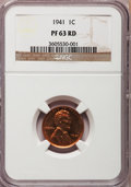 Proof Lincoln Cents, 1941 1C PR63 Red NGC. PCGS Population (176/1273). Mintage: 21,100.Numismedia Wsl. Price for problem fre...