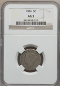 Liberty Nickels: , 1886 5C AG3 NGC. NGC Census: (0/464). PCGS Population (79/804).Mintage: 3,330,290. (#3847)...