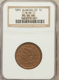 Large Cents, 1855 1C Slanting 55 MS64 Brown NGC. N-10. NGC Census: (14/14). PCGSPopulation (15/8)....