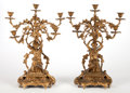 Decorative Arts, French, A PAIR OF FRENCH GILT BRONZE SIX-LIGHT FIGURAL CANDELABRA . Circa1900. 24-1/2 inches high (62.2 cm). ... (Total: 2 Items)
