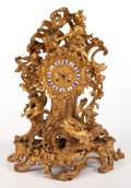 Decorative Arts, French, A GUICHE PALAIS ROYAL FRENCH LOUIS XV-STYLE GILT BRONZE FIGURALMANTLE CLOCK . Circa 1890. Marks to mechanism: GUICHEPALA...