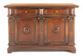 Furniture : American, A RENAISSANCE REVIVAL-STYLE WALNUT CREDENZA . Circa 1900. Marks:stamped 2751 1114/61. 40 inches high x 61 inches wide x...