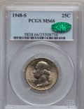 Washington Quarters: , 1948-S 25C MS66 PCGS. CAC. PCGS Population (786/43). NGC Census:(1145/278). Mintage: 15,960,000. Numismedia Wsl. Price for...