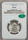 Washington Quarters: , 1950-D 25C MS66 NGC. CAC. NGC Census: (492/191). PCGS Population(474/38). Mintage: 21,075,600. Numismedia Wsl. Price for p...