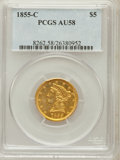 Liberty Half Eagles: , 1855-C $5 AU58 PCGS. PCGS Population (5/3). NGC Census: (17/13).Mintage: 39,788. Numismedia Wsl. Price for problem free NG...