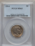 Buffalo Nickels: , 1914 5C MS63 PCGS. PCGS Population (364/1049). NGC Census:(252/680). Mintage: 20,665,738. Numismedia Wsl. Price for proble...