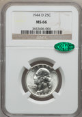 Washington Quarters: , 1944-D 25C MS66 NGC. CAC. NGC Census: (714/431). PCGS Population(648/76). Mintage: 14,600,800. Numismedia Wsl. Price for p...