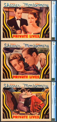 """Private Lives (MGM, 1931). CGC Graded Lobby Cards (3) (11"""" X 14""""). ... (Total: 3 Items)"""