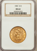Liberty Eagles: , 1884 $10 MS62 NGC. NGC Census: (32/18). PCGS Population (42/23).Mintage: 76,800. Numismedia Wsl. Price for problem free NG...