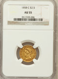 Liberty Quarter Eagles: , 1858-C $2 1/2 AU55 NGC. NGC Census: (29/71). PCGS Population(25/36). Mintage: 9,000. Numismedia Wsl. Price for problem fre...