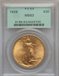 Saint-Gaudens Double Eagles: , 1928 $20 MS63 PCGS. PCGS Population (12678/24746). NGC Census:(14899/20837). Mintage: 8,816,000. Numismedia Wsl. Price for...