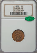 Indian Cents, 1893 1C MS65 Red and Brown NGC. CAC. NGC Census: (166/4). PCGSPopulation (18/3). Mintage: 46,642,196. Numismedia Wsl. Pric...