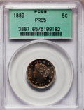 Proof Liberty Nickels: , 1889 5C PR65 PCGS. PCGS Population (208/89). NGC Census: (200/99).Mintage: 3,336. Numismedia Wsl. Price for problem free N...