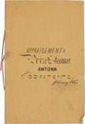 Miscellaneous:Ephemera, [Journal]. Appraisement of Prize Steamer Antona andContents. February 1863....