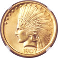 Indian Eagles, 1907 $10 No Periods MS66 NGC....