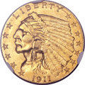 Indian Quarter Eagles, 1911-D $2 1/2 MS61 NGC....