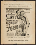"""Movie Posters:Drama, Forbidden and Others Lot (Columbia, 1932). Australian Herald (5.5"""" X 8.75""""), Herald (5"""" X 7.75"""") and Exhibitor Handout (9"""" X... (Total: 3 Items)"""