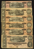 Confederate Notes:1864 Issues, T68 $10 1864 Six Examples.. ... (Total: 6 notes)