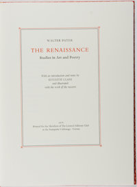 [Limited Editions Club]. Walter Pater. SIGNED/LIMITED. The Renaissance. Designed by