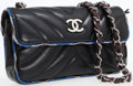 Luxury Accessories:Bags, Chanel Black Lambskin Mini Flap Bag with Silver Hardware andGraphic Trim. ...