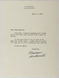 "Autographs:Artists, Norman Rockwell. Typed Letter Signed, ""Norman Rockwell,"" April 2, 1960, one page, ""Stockbridge Massachusetts"" letterhead. Wi..."