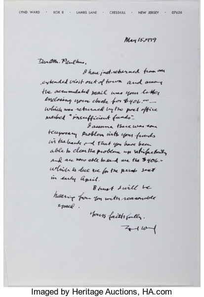 Lynd ward autograph letter signed lynd ward may 15 1979 lot autograph letter signed lynd ward spiritdancerdesigns Choice Image