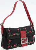Luxury Accessories:Bags, Fendi Red Lizard and Black Fabric Baguette Shoulder Bag with Enameland Rose Beaded Details. ...