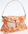 Luxury Accessories:Bags, Fendi Orange Graphic Print Satin Jumbo Baguette Shoulder Bag. ...