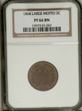 Proof Two Cent Pieces: , 1864 2C Large Motto PR66 Brown NGC. Pleasing tobacco-browncoloration over both sides yields to strong underlying green, sk...