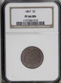 Proof Two Cent Pieces: , 1867 2C PR66 Brown NGC. An exquisitely struck Premium Gem that haseven and very attractive red-brown patina. Seemingly fre...