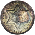Three Cent Silver: , 1868 3CS MS65 NGC. Beautiful gold, powder-blue, and fire-red shadesinvigorate this pinpoint-sharp and moderately prooflike...