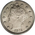 Liberty Nickels: , 1912 5C MS66 PCGS. This coin is well struck, even on the lowerwreath details, and all of the star radials are fully articu...