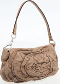 Luxury Accessories:Bags, Yves Saint Laurent Beige Suede Shoulder Bag with Large Rose Detail....