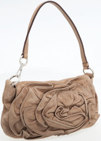 Yves Saint Laurent Beige Suede Shoulder Bag with Large Rose Detail