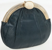 Judith Leiber Navy Lizard Clutch with Gold Frame and Cabochon Closure and Gold Chain Shoulder Strap