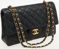 Luxury Accessories:Bags, Chanel Navy Lambskin Leather Medium Classic Double Flap Bag withGold Hardware. ...