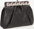 Luxury Accessories:Bags, Judith Leiber Black Lizard Clutch with Silver and Crystal ElephantFrame Closure and Shoulder Strap. ...