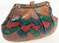 Luxury Accessories:Bags, Judith Leiber Multicolor Snakeskin Clutch with Kiss Lock Closureand Shoulder Strap. ...