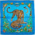 "Luxury Accessories:Accessories, Hermes Light Blue and Brown ""Jungle Love"" Silk Scarf. ..."