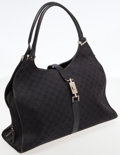 Luxury Accessories:Bags, Gucci Black Monogram Canvas Large Bardot Hobo Bag. ...