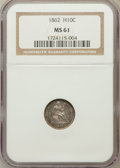 Seated Half Dimes: , 1862 H10C MS61 NGC. NGC Census: (31/508). PCGS Population (16/483).Mintage: 1,492,550. Numismedia Wsl. Price for problem f...