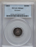 Seated Half Dimes: , 1853 H10C Arrows MS64 PCGS. PCGS Population (151/89). NGC Census:(201/132). Mintage: 13,210,020. Numismedia Wsl. Price for...