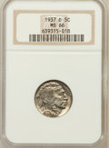 Buffalo Nickels: , 1937-D 5C MS66 NGC. NGC Census: (1858/88). PCGS Population(1631/84). Mintage: 17,826,000. Numismedia Wsl. Price for proble...