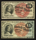 Fractional Currency:Fourth Issue, Fr. 1267 15¢ Fourth Issue Choice About New;. Fr. 1271 15¢ Fourth Issue Very Fine-Extremely Fine.. ... (Total: 2 notes)