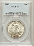Walking Liberty Half Dollars: , 1937 50C MS65 PCGS. PCGS Population (1419/708). NGC Census:(1017/439). Mintage: 9,527,728. Numismedia Wsl. Price for probl...