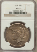 Peace Dollars: , 1928 $1 AU53 NGC. NGC Census: (113/5428). PCGS Population(170/7309). Mintage: 360,649. Numismedia Wsl. Price for problemf...