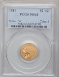 Indian Quarter Eagles: , 1911 $2 1/2 MS63 PCGS. PCGS Population (1119/757). NGC Census:(1788/1423). Mintage: 704,000. Numismedia Wsl. Price for pro...