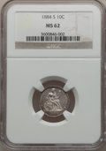 Seated Dimes: , 1884-S 10C MS62 NGC. NGC Census: (8/27). PCGS Population (7/23).Mintage: 564,969. Numismedia Wsl. Price for problem free N...