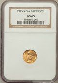 Commemorative Gold, 1915-S G$1 Panama-Pacific Gold Dollar MS65 NGC....
